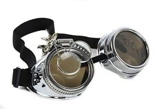 Steampunk Victorian Welding Silver Goggles 2X Lens Scissors Punk Goth Cosplay