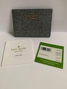 NWT Kate Spade Burgess Court Card Case Holder in Ash GlitterPWRU7081 (Silver)