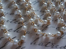 """Bead Chain White Pearls 4mm Glass Beads on Gold Bead Chain - Qty 18"""""""