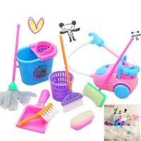 9X Childrens Kids Cleaning Sweeping Play Set Mop Broom Brush Dustpan Childs X2J8