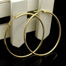 "18K Gold Plated Round 50mm 2"" Large Big Hoop Earrings Stainless Steel E51"