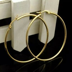 """18K Gold Plated Round 50mm 2"""" Large Big Hoop Earrings Stainless Steel E51"""