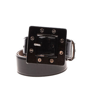 RRP €395 DOLCE & GABBANA Leather Belt Size 95/38 Patent Panel Studded Pin Buckle