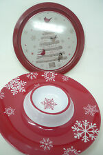 "Threshold Round Santa Christmas Holiday Tray 13.6/"" Metallic Red"