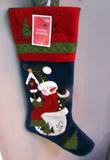 """New. Snowman Christmas Stocking Felt Back and front. Large 22"""" Lined w. tab."""
