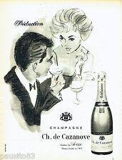 PUBLICITE ADVERTISING 076  1959  Champagne Ch; de Cazeneuve  chateau d'Avèze