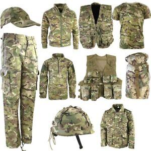 KIDS ARMY CLOTHING T-SHIRT TROUSERS VEST HELMET CAP COAT BAG BOYS BTP CAMO