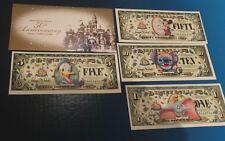 LOT $50 BOYER DISNEY DOLLAR 2005 50th Anniversary Disneyland Fifty SET +1 5 & 10