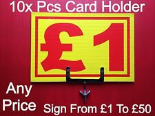 GARMENT RAIL PRICE TICKET CARD HOLDER 10x PIECES + 10 PIECE ANY SIGN PRICE