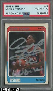 """Dennis Rodman Signed Inscribed """"THE WORM"""" 1988 Fleer #43 RC Silver AUTO PSA/DNA"""