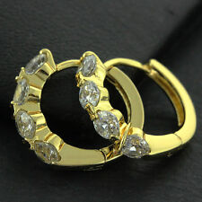 AN749 GENUINE REAL 18K YELLOW G/F GOLD DIAMOND SIMULATED LADIES HOOP EARRINGS