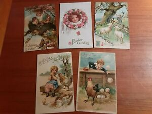 9 Vintage Postcards, Easter, early 1900s