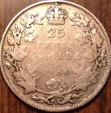 1936 CANADA SILVER 25 CENTS DOT VARIETY SCARCE COIN HAVE A LOOOK !!!