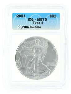 2021 Silver Eagle MS70 Type 2 ICG S$1 Initial Release Coin