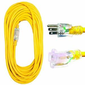 Thonapa 50 Foot Lighted Outdoor Extension Cord - 12/3 SJTW Heavy Duty Yellow