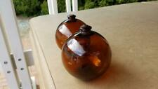 Pair of Amber Color Vintage Glass Fishing Floats