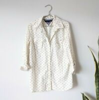 Tommy Hilfiger Polka Dot Button Down Shirt White & Navy Blue Long Sleeve Small