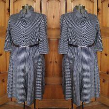 Vintage Black Cream Patterned Cotton Shirt Dress Think Chic Etam