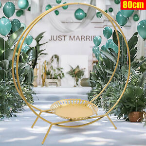 Round 80CM Iron Wedding Party Cake Stand Double Hoop Flower Decor Arch Rack GOLD