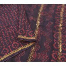 Sanskriti Vintage Black Sarees 100% Pure Cotton Batik Work 5 Yard Sari Fabric