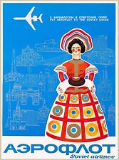 Soviet Airlines Russia Russian Soviet Union Vintage Travel Advertisement Poster