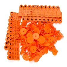 Orange 1-100 Number Plastic Livestock Ear Tag For Goat Sheep Pig