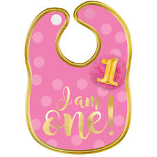 """Amscan 6: 1st Birthday Girl """"I Am One"""" Polyester Bib with Gold Hot Stamped Lette"""