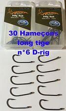 lot de 30 hameçons N*6 carpe long tige D-rig Radical Teflon << port gratuit >>
