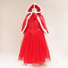 Snow White Kids Girls Dresses Costume Princess Party Christmas Dress Cape Crown