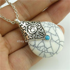 Tibet Silver Vintage Necklace White Resin Pendant Fashion Jewelry Alloy Antique