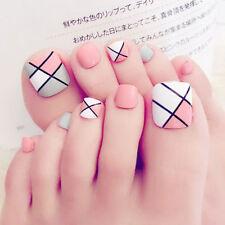 24 X Foot False Nail Tips Cute Fake Toes Nails Toe Art Tool Women Summer Gift