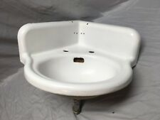 Antique Cast Iron White Porcelain Corner Bath SInk Old Standard Vintage 221-18E