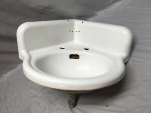 Antique Cast Iron White Porcelain Corner Bath SInk Old Standard Vintage 221-18E