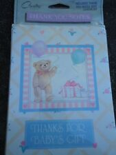 """Carlton Cards Baby Thank You Notes Bear with Balloons and Gift Box 8 Pcs 3"""" x 5"""""""