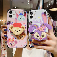 For iPhone 11 Pro Max XS XR 7 8+ Cute Disney Duffy Stand Holder Strap phone Case