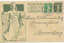 "CH ""ZÜRICH / BRF. EXP."" K2 5 C Pra.-UPU-Sonder-GA-Postkarte BRAUNSCHWEIG 1909"