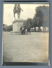 "France, Dinan, Statue équestre de Bertrand Du Guesclin Vintage silver print. ""Le"