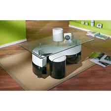 Couchtisch Glastisch Wohnzimmertisch Wohnzimmer Tisch Glas 2 Hocker schwarz weiß