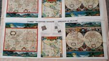 4 Voyager World Globe Fabric Traditions Screen Print Cut Sew Panels Appliques