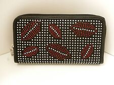 NWOT Lany Women's Black Gem Studded RED HOT LIPS Zip Around Clutch Wallet