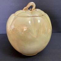 Pantry Parade Luster Ware Yellow Tomato Cookie Jar 1940s Stanford Pottery Vtg