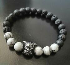 Lava stone ,Scenery jasper Birthstone bracelet gift for men Diffuser Chakra...