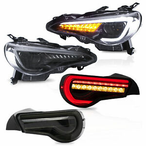 LED Headlights+SMOKED Taillights for 13-16 Scion FR-S 17-19 Toyota 86 13-20 BRZ