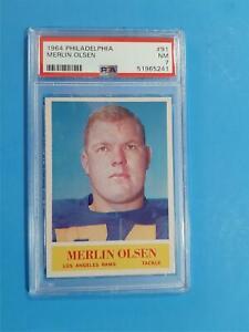1964 Philadelphia Merlin Olsen #91 Los Angeles Rams RC Rookie Card PSA 7
