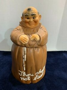 Vtg 1960's Monk Friar Tuck Cookie Jar by Twin Winton Thou Shalt Not Steal HTF