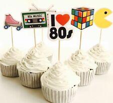 12x 80's Eighties Cupcake Topper Pick. *HANDMADE* Party Supplies 80s Pacman