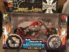 NIB Muscle Machines Red 1/18 Cherry CFL James West Coast Chopper Motorcycle