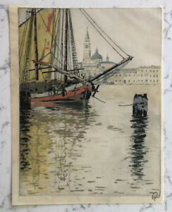 VINTAGE HANS FIGURA PENCIL SIGNED COLOR ETCHING VENICE BOAT MARITIME SCENE