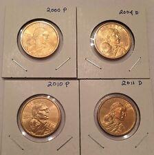 Lot of 4 Uncirculated Sacajawea American Dollars, 2000P, 2004D, 2010P, 2011D