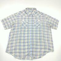 J J Cochran Mens Multicolor Plaid Pearl Snap Short Sleeve Western Shirt Size 2X